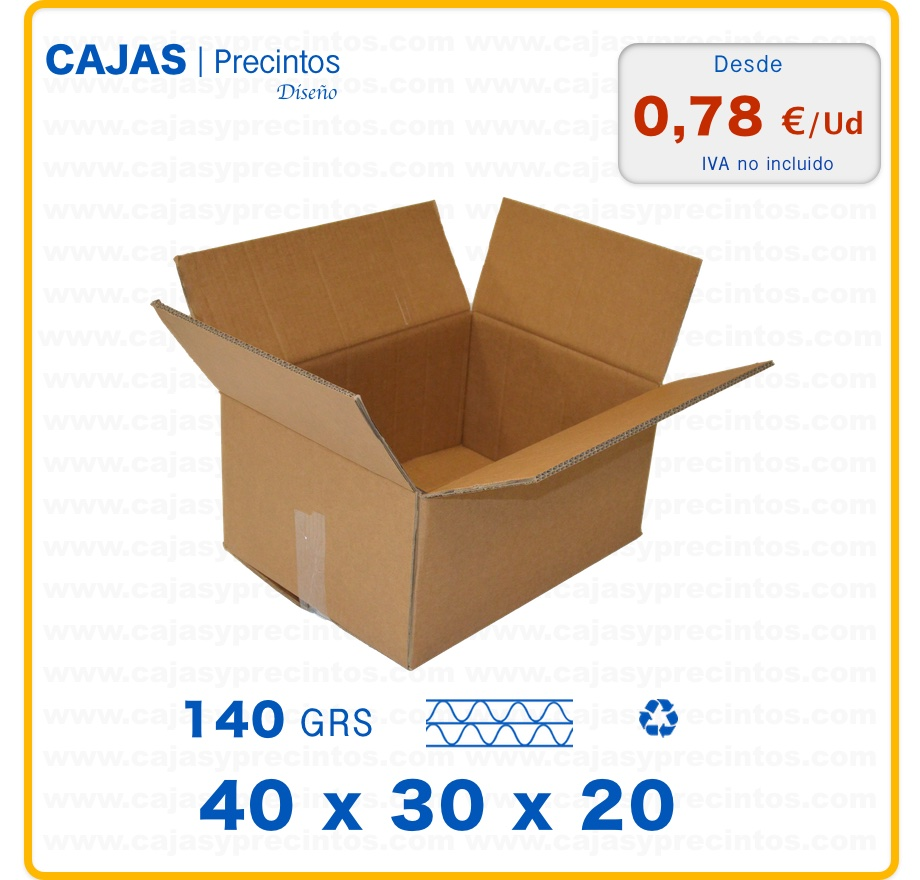 caja de cart n 40 x 30 x 20 cm canal doble cajas y precintos. Black Bedroom Furniture Sets. Home Design Ideas