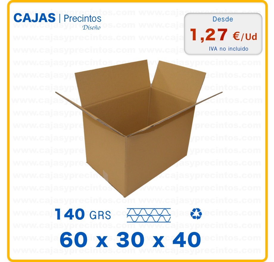caja de cart n 60 x 30 x 40 cm canal doble cajas y precintos. Black Bedroom Furniture Sets. Home Design Ideas