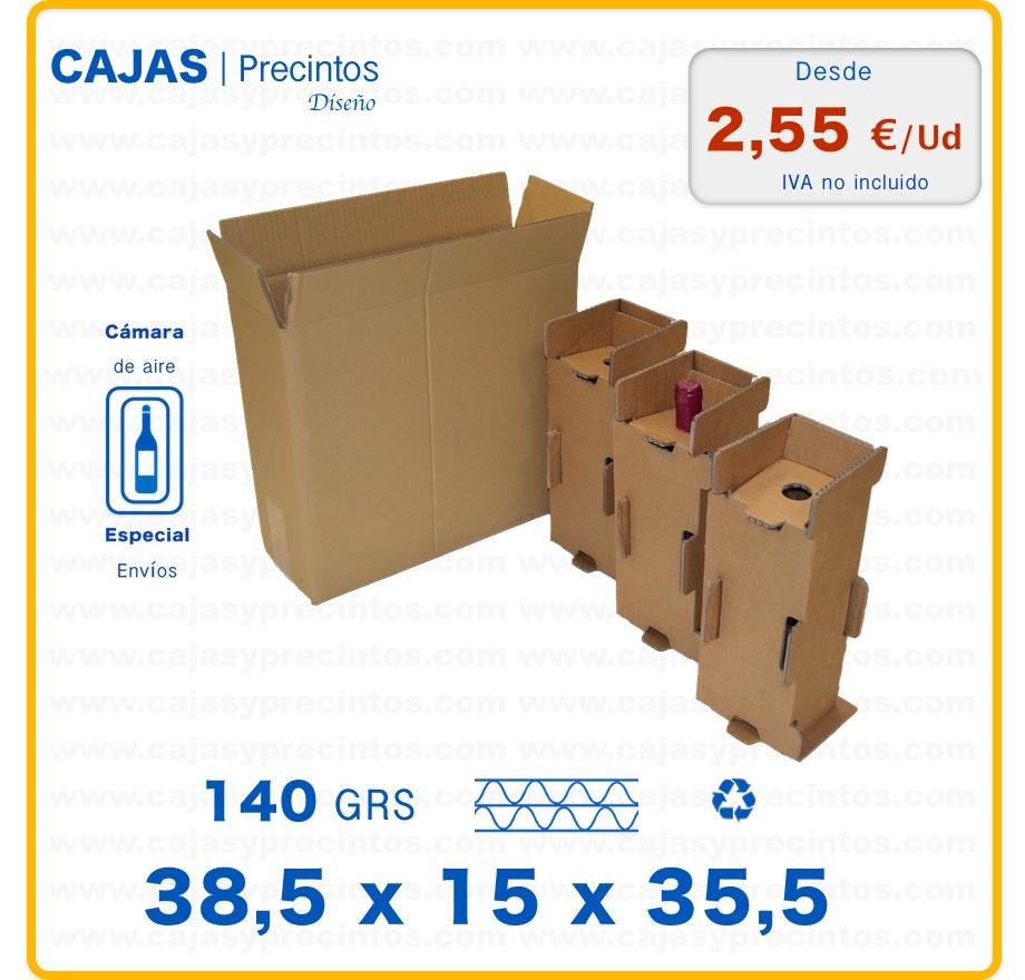 Caja Cartón Para Envío 385 X 15 X 355 Cm 3 Botellas Vino 75 Cl