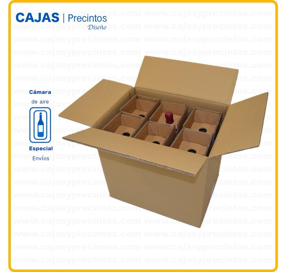 Caja Cartón Para Envío 385 X 28 X 355 Cm 6 Botellas Vino 75 Cl